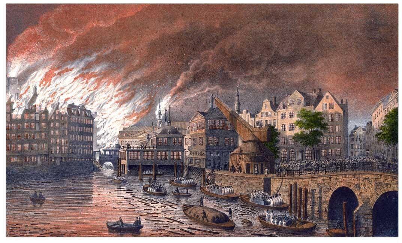 Hamburger Brand von 1842, Börse und Rathaus